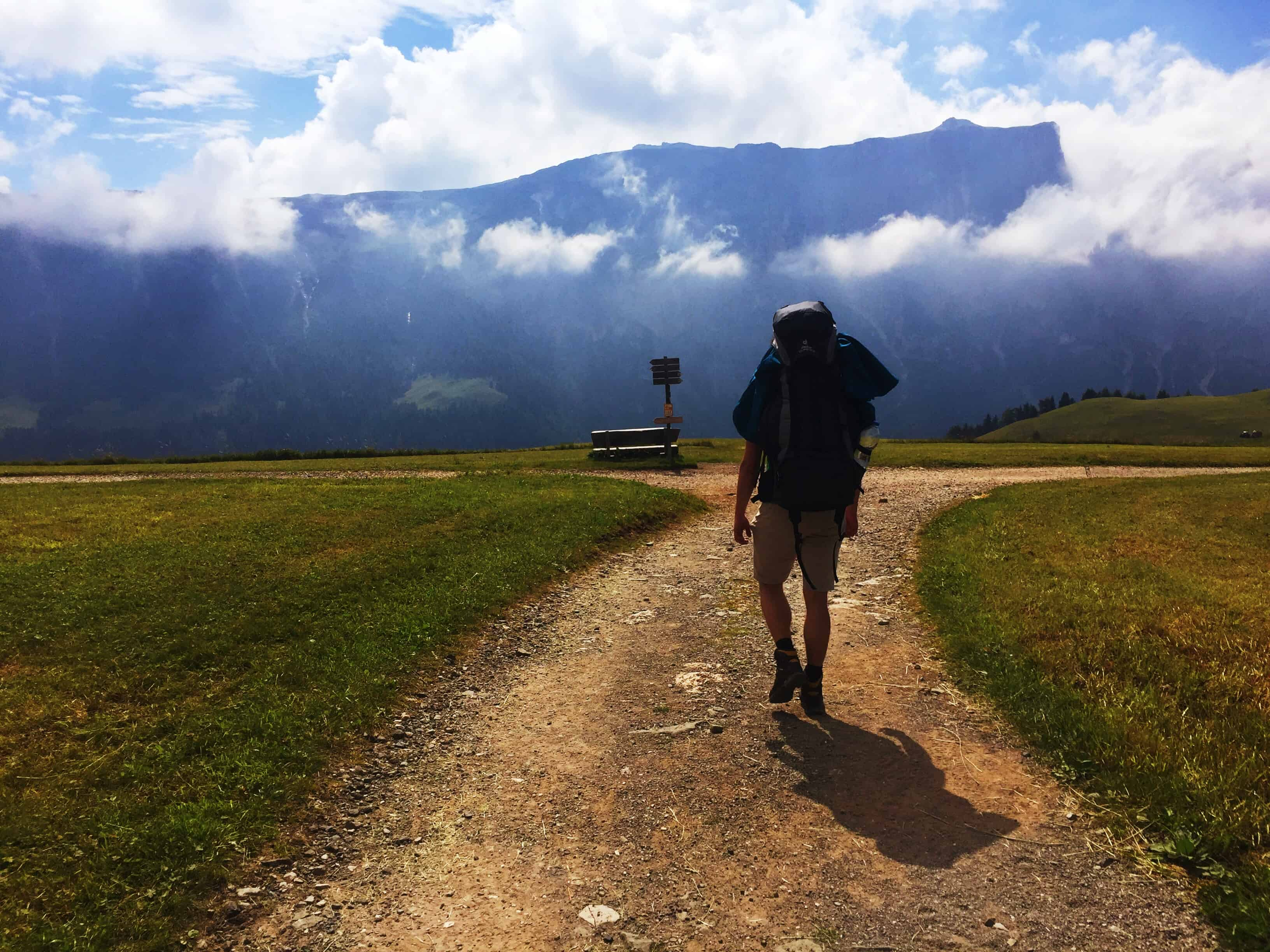 Philipp hiking at Sciliar in South Tyrol