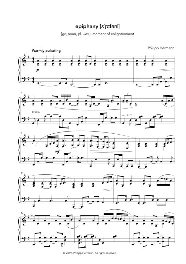 epiphany Klaviernoten Vorschau