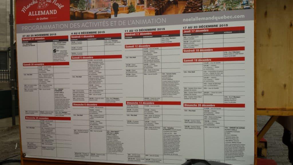 Die Programmtafel des Deutschen Weihnachtsmarkts Québec