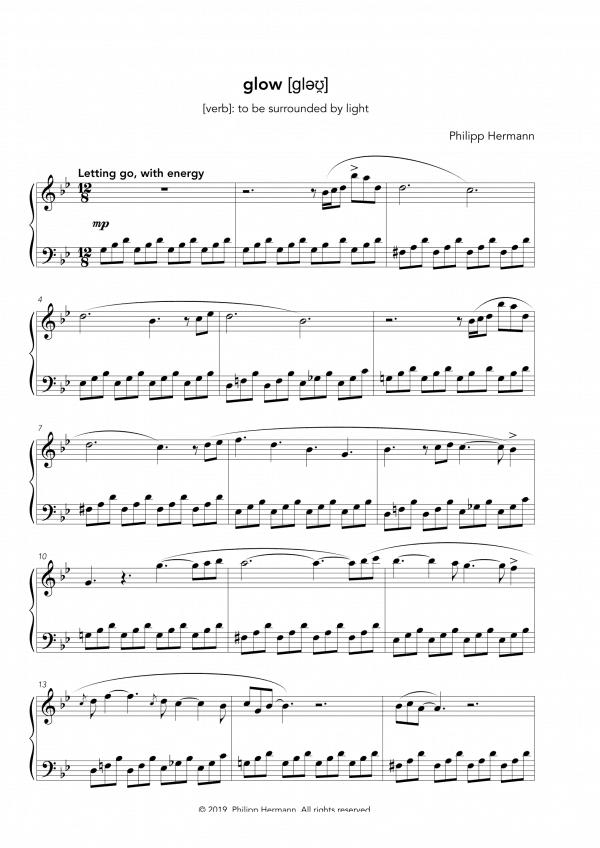 """Eine Vorschau der Klaviernoten zu Philipp Hermanns Klavierstück """"glow"""""""