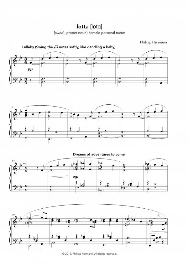 """Eine Vorschau der Klaviernoten zu Philipp Hermanns Klavierstück """"lotta"""""""
