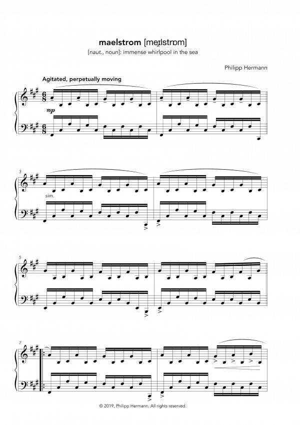 """Eine Vorschau der Klaviernoten zu Philipp Hermanns Klavierstück """"maelstrom"""""""