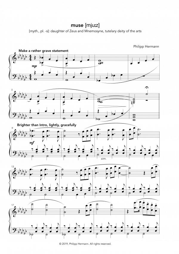 """Eine Vorschau der Klaviernoten zu Philipp Hermanns Klavierstück """"muse"""""""