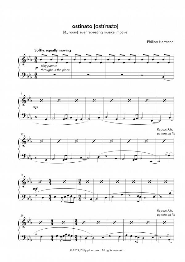 """Eine Vorschau der Klaviernoten zu Philipp Hermanns Klavierstück """"ostinato"""""""