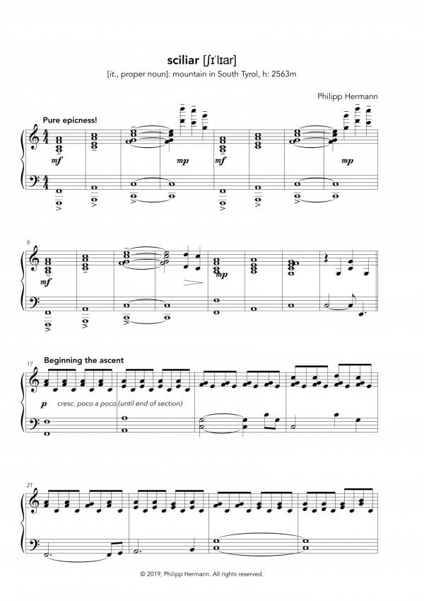 """Eine Vorschau der Klaviernoten zu Philipp Hermanns Klavierstück """"sciliar"""""""