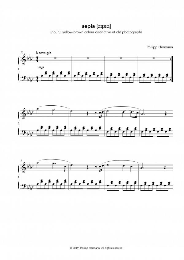 """Eine Vorschau der Klaviernoten zu Philipp Hermanns Klavierstück """"sepia"""""""