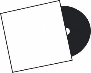 Zeichnung einer Schallplatte, die zur Hälfte in der Hülle steckt